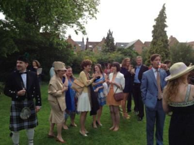 Wedding guests in the garden